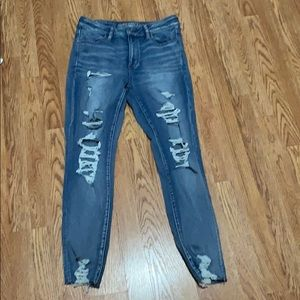 Distressed denim high waisted jeans